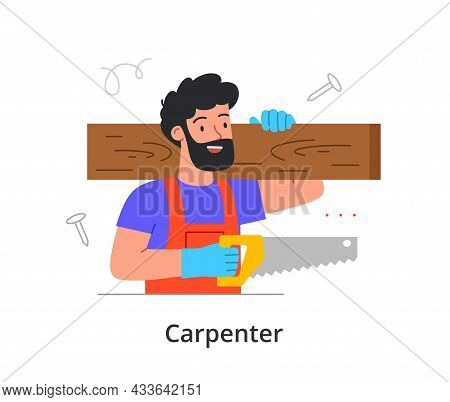 Cheerful Bearded Male Character Is Enjoing Working As A Carpenter On White Background. People Like W
