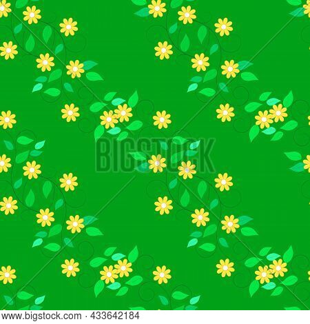 Summer Romantic Pattern With Colorful Flowers On Green. Decorative Colorful Elegant Romantic Seamles