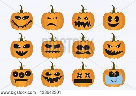 Set Pumpkins For Halloween. Halloween Jack O Creepy Lantern Set. Funny Pumpkin With Emotions Face Ve