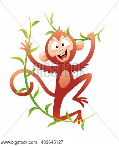 Swinging Monkey Happy Cartoon Character Illustration. Animal For Kids With Liana Leaves In Jungle, C
