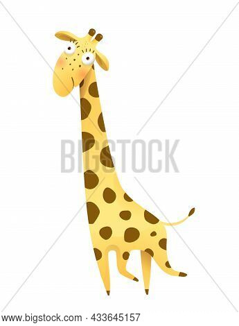 Funny Imaginary Giraffe Drawing For Kids And Children, African Humorous Safari Animal. Isolated Vect