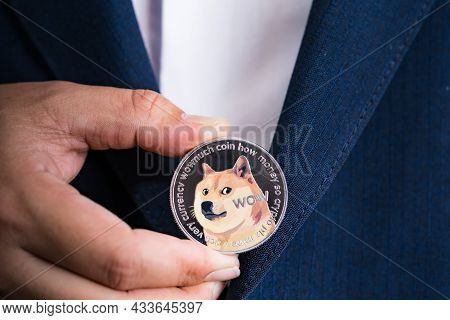 Golden Bitcoin Coin Dogecoin Doge Group Included With Cryptocurrency On Hand Business Man Wearing A