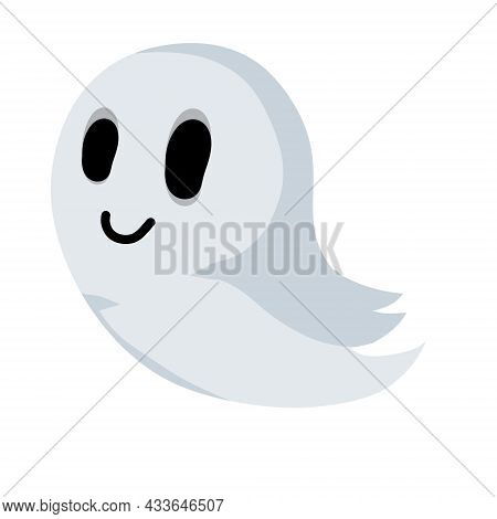 Ghost. Funny Flying Spirit.the Halloween Element. Flat Cartoon Illustration. White Cute Character. I