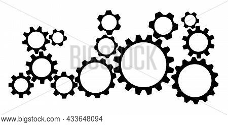 Toothed Gear Wheel Symbols Isolated On White Background Vector Illustration