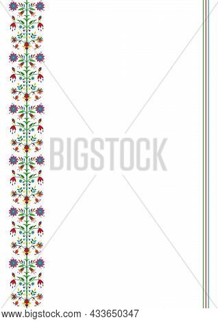Ethnic Floral Border Isolated On White Background. Mexican Party, Wedding Invitation, Restaurant Men