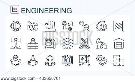 A Set Of Vector Icons From The Field Of Construction, Industry And Mechanical Engineering. Isolated.