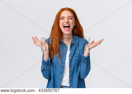 Lol So Funny. Amused And Carefree Pretty Redhead Female Student Clap Hands, Applause With Closed Eye