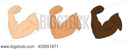 Cartoon Arm Muscle Set. Muscles And Strength Hands Gym. Bodybuilder Biceps Flex Arms Symbol. Emoji O