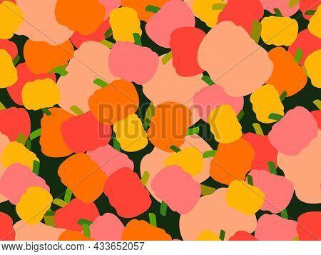Pumpkins Seamless Pattern. Autumn Background With Pumpkins, Beautiful Design For Halloween And Thank