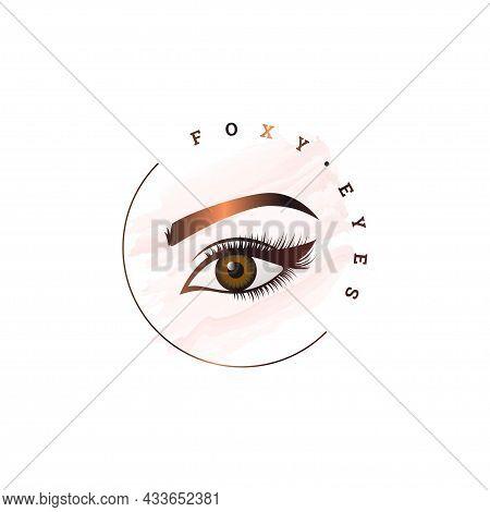 Foxy Eye Round Logo. Makeup Logo Circle On White