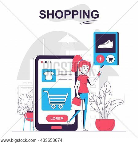 Shopping Isolated Cartoon Concept. Woman Chooses Products In Mobile App, Pays For Purchases, People