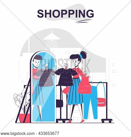 Shopping Isolated Cartoon Concept. Woman Buyer Trying On Clothes In Fitting Room At Shop, People Sce