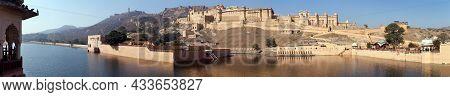 Amber Fort And Palace Near Jaipur City And Lake, Rajasthan, India, Panoramic View