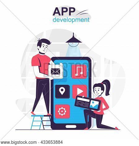 App Development Isolated Cartoon Concept. Developers Create Layout For Mobile Applications, People S