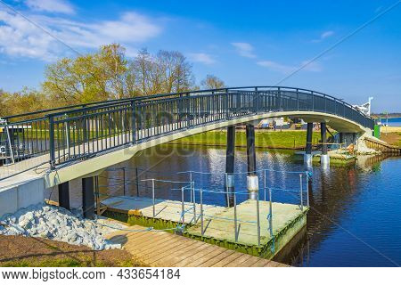 Bad Bederkesa Lake See Bridge On Sunny Day And Natural Landscape In Geestland Cuxhaven Lower Saxony