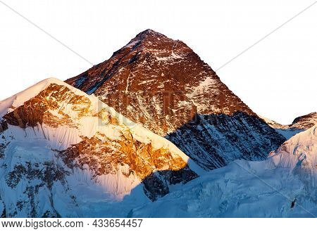 Mount Everest Isolated On The White Sky Background, Evening Panoramic View Of Mt Everest Seen From K