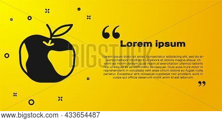 Black Apple Icon Isolated On Yellow Background. Excess Weight. Healthy Diet Menu. Fitness Diet Apple