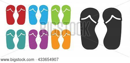 Black Flip Flops Icon Isolated On White Background. Beach Slippers Sign. Set Icons Colorful. Vector