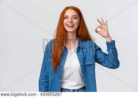 Waist-up Portrait Charismatic Redhead Woman Having Fantastic Time With Friends On Party Showing Okay