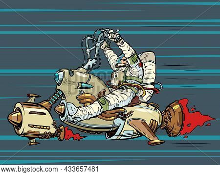 Space Biker. An Astronaut Is Flying On A Jet-powered Flying Analogue Of A Motorcycle. Science Fictio