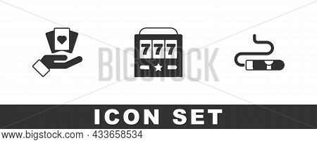Set Hand Holding Playing Cards, Slot Machine With Jackpot And Cigar Icon. Vector