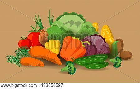 Banner With Vector Vegetables. Concept Healthy Food. Fresh Vegetable Organic Food Set Still Life Iso