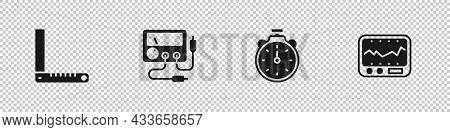 Set Corner Ruler, Multimeter, Voltmeter, Stopwatch And Measuring Instrument Icon. Vector