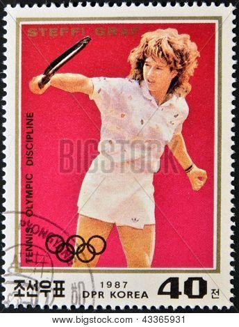 A stamp printed in North Korea shows Steffi Graf