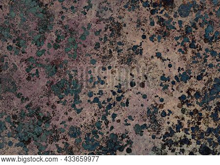 Brown Green Beige Vintage Background With Spots, Splashes And Dots. Watercolor Texture With Blur And