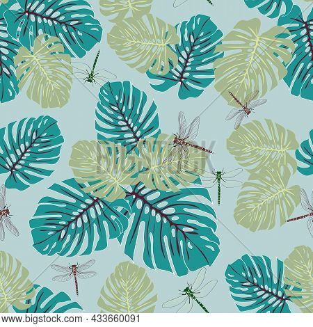 Blue Tropical Eden Dragonfly Seamless Vector Pattern