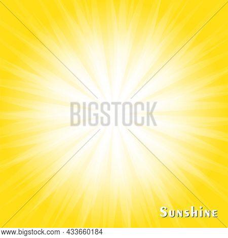White Light Spread From The Center On Yellow Background. Sunburst Rays Explosion Banner. Sunny Sunsh