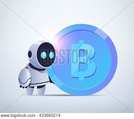 Robot Holding Bitcoin Crypto Currency Web Money Mining Passive Income Earnings Artificial Intelligen