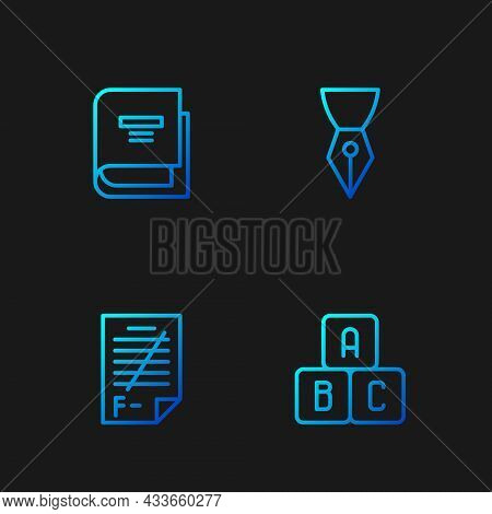 Set Line Abc Blocks, Exam Paper With Incorrect Answers, Book And Fountain Pen Nib. Gradient Color Ic