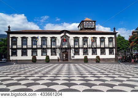 Funchal, Portugal - August 29, 2021: This Is The Municipal Square With The City Palace Of Funchal, W