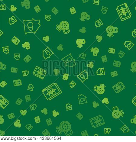 Set Line Smart Home, Browser Incognito Window And Cyber Security On Seamless Pattern. Vector