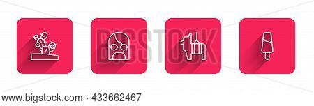 Set Line Cactus, Mexican Wrestler, Pinata And Popsicle Ice Cream With Long Shadow. Red Square Button