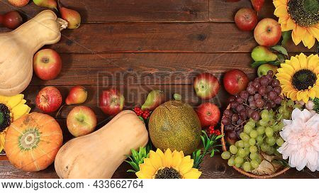 Happy Thanksgiving Concept, Autumn Background With Seasonal Fall Nature Berries, Pumpkins, Melons, A