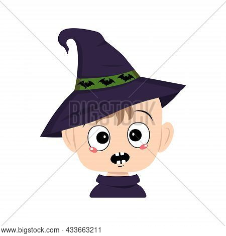 Avatar Of A Child With Emotions Panic, Surprised Face, Shocked Eyes In A Pointed Witch Hat With Bats