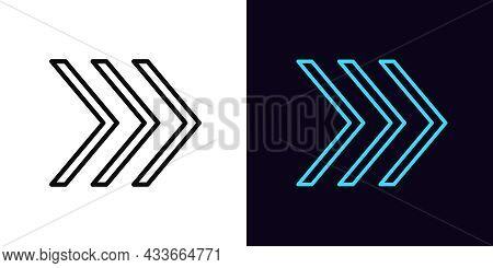 Outline Arrow Icon, With Editable Stroke. Linear Arrow Motion Sign, Swipe Up Pictogram. Arrowhead An