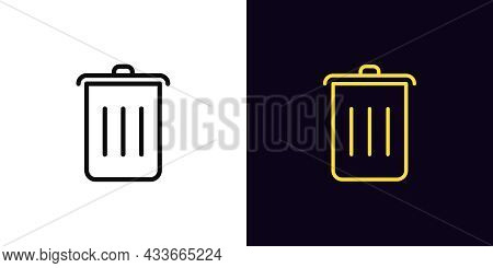 Outline Trash Can Icon, With Editable Stroke. Linear Dustbin Sign, Garbage Pictogram. Trash Bucket,