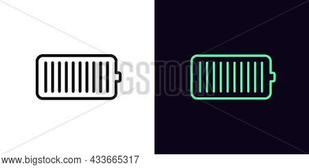 Outline Battery Icon, With Editable Stroke. Linear Electric Charge Sign, Accumulator Pictogram. Phon