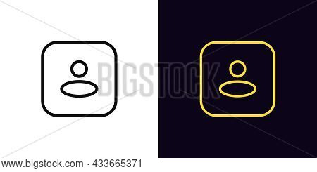 Outline User Icon, With Editable Stroke. Linear Person Sign, Square Avatar Pictogram. Anonymous User