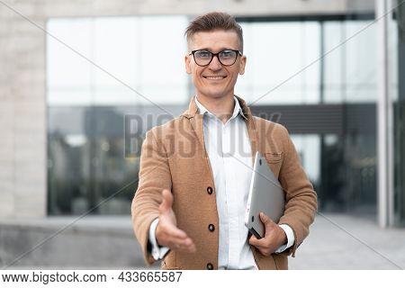 Business. Businessman Giving Hand For Handshake Welcome Gesture Adult Caucasian Male Business Person