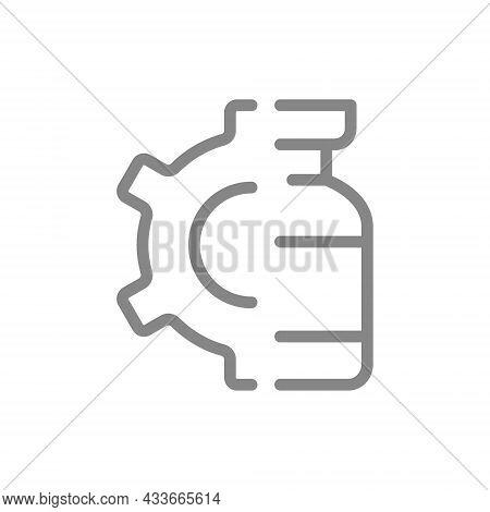Medical Ampoule And Gear Line Icon. Vaccine, Serum, Vaccine Test, Vaccine Development Symbol