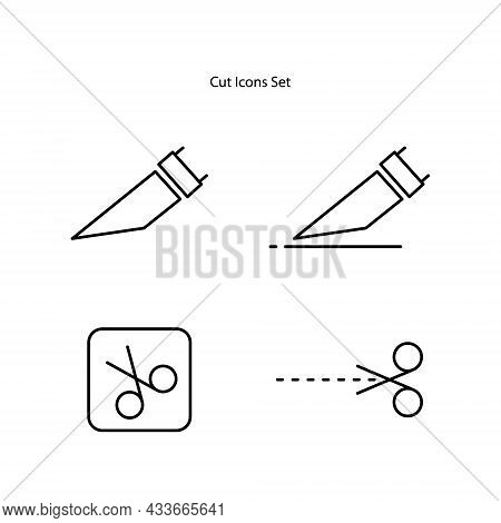 Cut Line Set, Editable Strokes. Easy To Modify. Paper Cut Icon With Dotted Line. Vector Scissors Wit