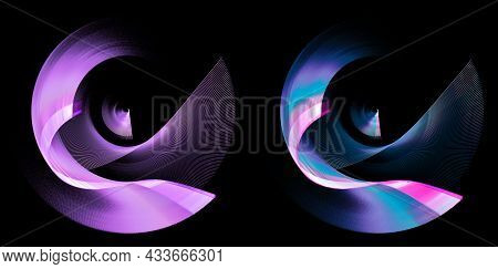 The Blue And Purple Wavy Blades Of The Abstract Propellers Are Layered And Rotated Against A Black B