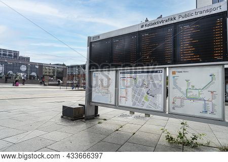 Oslo, Norway. September 2021.  The Timetable Of The Means Of Transport On A Street In The City Cente