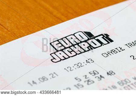 Deblin, Poland - June 14, 2021: Euro Jackpot Lottery Ticket.