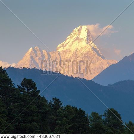 Evening Sunset View Of Mount Ama Dablam With Forest, Nepal Himalayas Mountains