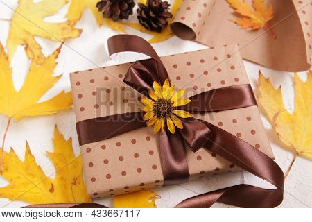 Natural Gift Wrap. Autumn Creative Holiday Present. Handmade Paper Gift Box With Foliage Dried Leave